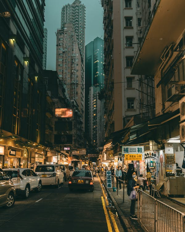 Crowded Street In China At Night